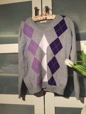 Pullover V-Ausschnitt Rauten grau lila Flieder