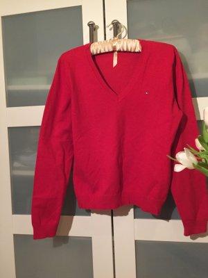 Pullover V-Ausschnitt rot Tommy Hilfiger.