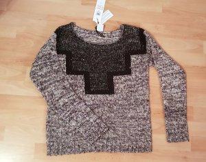 Pullover Vero Moda schwarz grau meliert Pailetten Gr. M / 38 NEU OP 49,95