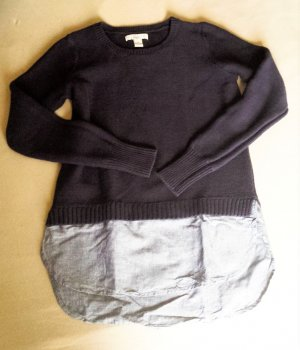 Maglione lavorato a maglia blu scuro-blu fiordaliso Tessuto misto