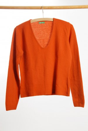 Benetton V-Neck Sweater orange wool