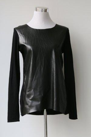 Pullover von Hallhuber Donna mit Lederimitat Gr. 38 in schwarz