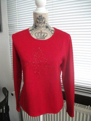Pullover von JOY, mit Stäbchen Applikation, Gr. 38, rot