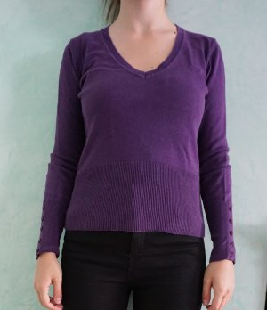 Lawrence Grey V-Neck Sweater purple cotton