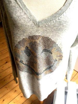 Pullover von Made with Love mit SMILEY, grau, Grösse L - neuw