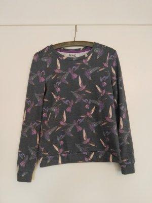 Pullover von Only mit Vogeldruck grau lila