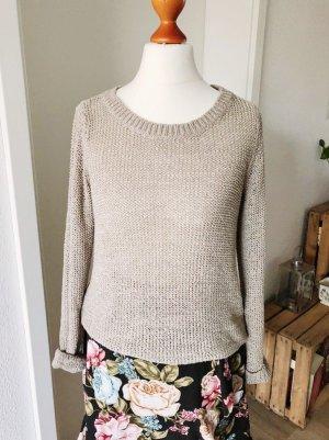 Pullover von Only XS Häkel beige Strickpulli