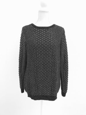 & other stories Kraagloze sweater zwart-zilver