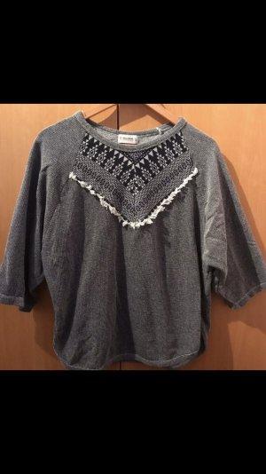Pull & Bear Short Sleeve Sweater white-dark blue