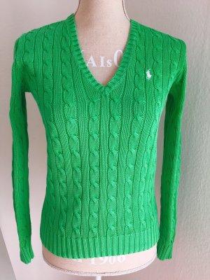 Ralph Lauren Sport Pull col en V vert-vert prairie coton