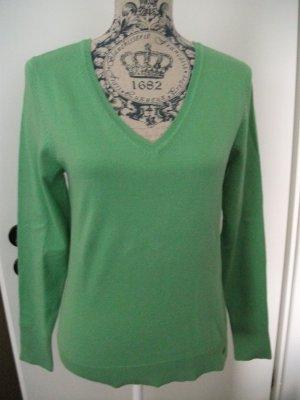 Pullover von s.Oliver mit V-Ausschnitt, Gr. 38, grün, Baumwolle