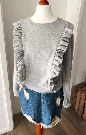 Pullover von Sublevel grau S Rüschen