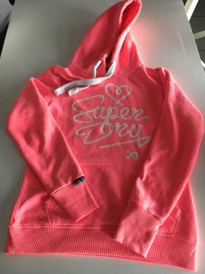 Superdry Hooded Sweatshirt neon pink cotton