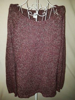 Pullover von Vero Moda, dunkelrot/weiß meliert Gr. 40