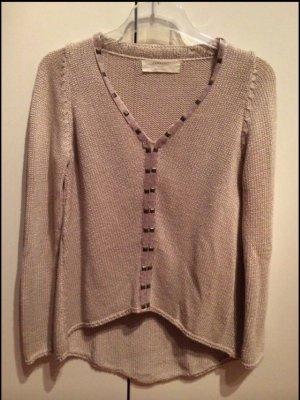 Zara Maglione lavorato a maglia marrone-grigio