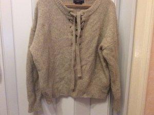 Zara Pull tricoté argenté laine