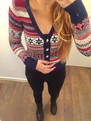 Pullover Weihnachtspullover Strickpullover langärmlig Muster zum Knöpfen