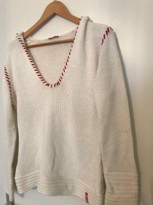 Maglione con cappuccio bianco-rosso
