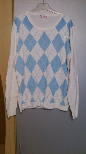 Pullover weiß blau gemustert