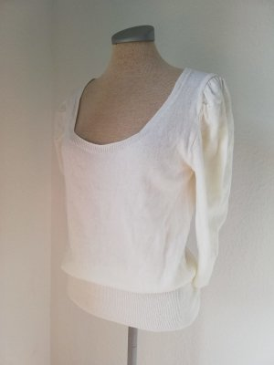 Pullover weiß Gr. M 40 Pufffärmel 3/4 Arm