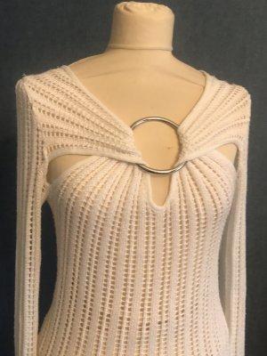 Cardigan en maille fine blanc tissu mixte