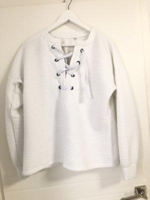 Pullover Weiß mit Schnürung
