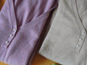 Pullover Wolle Gr. 36/38 Flieder Beige