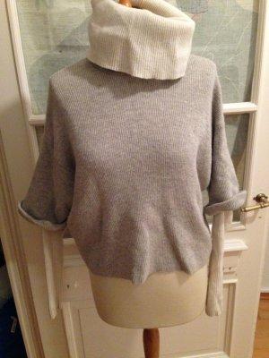 Pullover, Wolle, grau, kurz geschnitten, Oversize