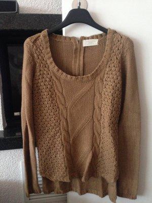 Pullover Zara, braun, Zopfmuster, Größe S