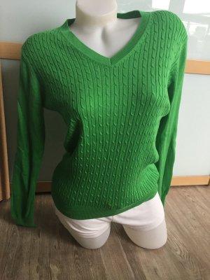 Pullover Zopfmuster Grün Karstadt M 38-40 Sweatshirt Top Damen Pulli V-neck