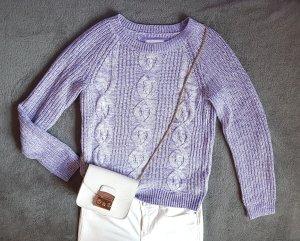 Pullover Zopfmuster Strick Flieder Lila Weiß H&M Gr. S