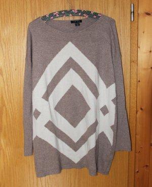 Pulloverkleid mit Muster, braun, beige, Hipster, Gr. S