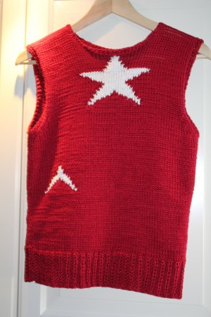 Fine Knitted Cardigan brick red-white cotton