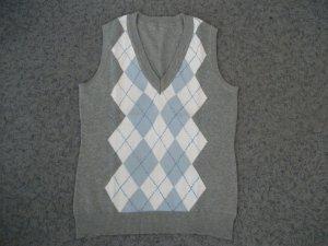 Pullunder im College Stil mit Rauten Muster, grau-blau-weiß, Gr. 36