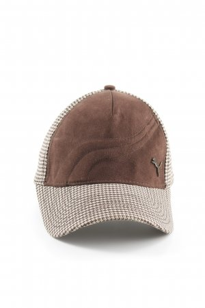 Puma Baseball Cap dark brown-oatmeal houndstooth pattern casual look