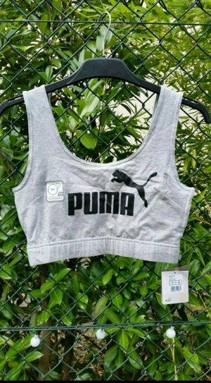 Puma croptop grau mit schwarzem logo in gr. S 36