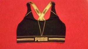 Puma Gold Logo Cross Back Schwarz/Gold Sport BH Gr.L