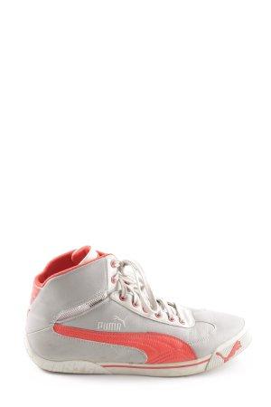 Puma High Top Sneaker hellgrau-rot extravaganter Stil