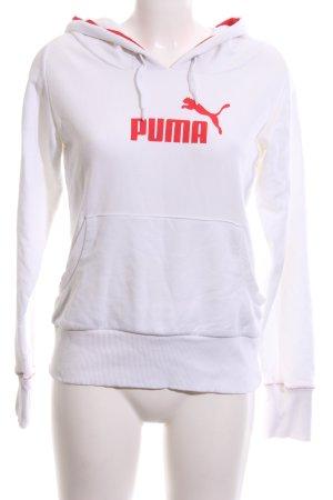 Puma Maglione con cappuccio bianco caratteri stampati stile casual