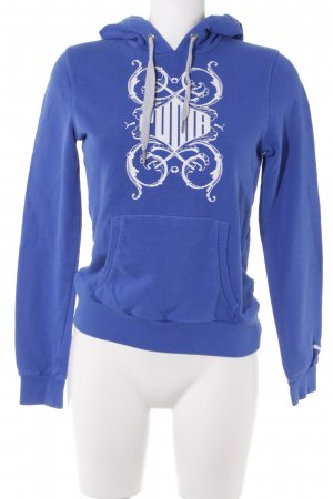 Puma Hooded Sweatshirt blue-white printed lettering athletic style