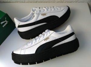 PUMA Leder Sneaker Platform Basket schwarz+weiß Gr. 38,5
