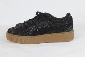 Puma Basket à lacet noir-bronze cuir