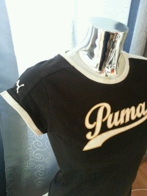 PUMA Retro T-Shirt schwarz weiß orange