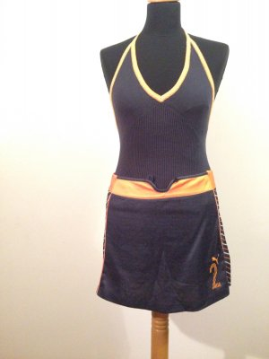 Puma Retro Vintage Neckholder schulterfrei blau orange Logo streifen Muster
