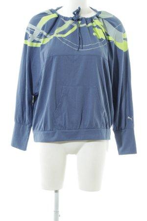 Puma Rundhalspullover blau-grün abstraktes Muster sportlicher Stil