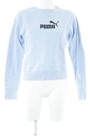 Puma Rundhalspullover himmelblau-schwarz Motivdruck Casual-Look