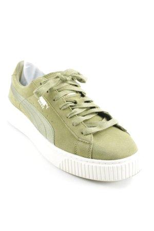 Puma Schnürsneaker grasgrün-goldfarben Skater-Look