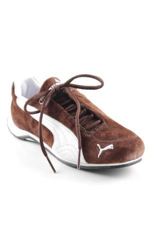 Puma Sneakers met veters wit-bruin abstract patroon atletische stijl