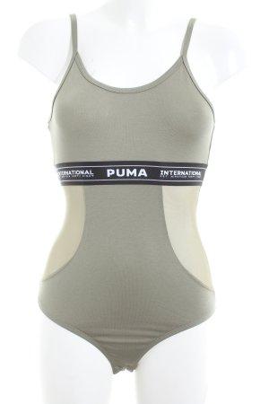 Puma Shirtbody khaki-creme Schriftzug gedruckt Casual-Look