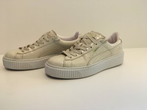 Puma Sneaker Basket Platform Creme, White glänzend